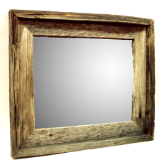 old weathered barnwood framed mirror