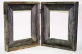 hinged double picture frames made from old weathered barnwood