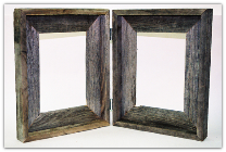 hinged double picture frames made from old weathered barnwood (SKU: 3)
